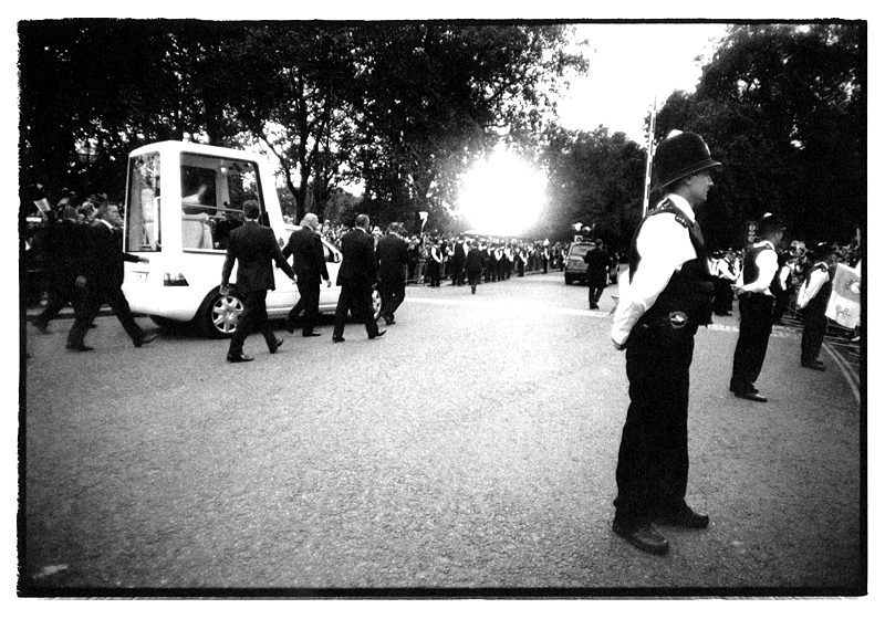 Protesting the arrival of Pope Benedict XVI, Piccadilly, London, England by Toby Deveson. September 2010