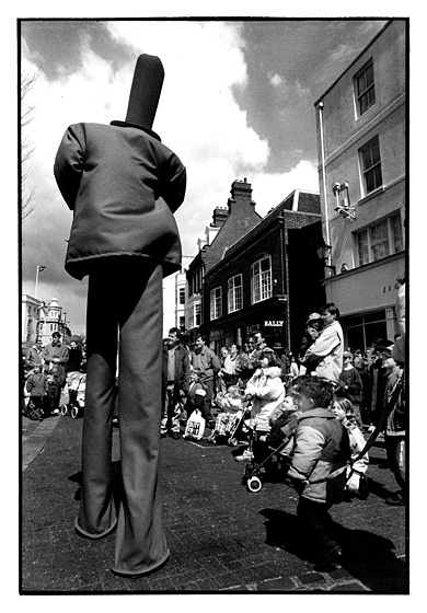 The Stiltoneers Brighton Festival. Commissioned to provide postcard image.(not used) May 1995.