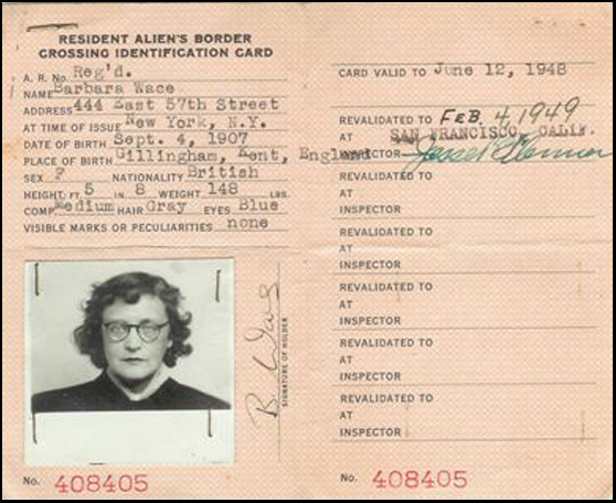 Barbara's United States Alien card