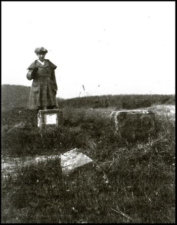 Barbara Wace on a Saar boundary post circa 1922