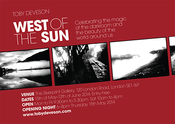 Invitation design for Toby Devesons exhibition, West of the Sun at Silverprint by Jim Shannon