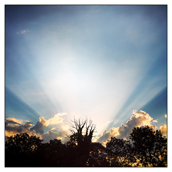 Personal I-Phone instagram image of sunset over Evian, France by Toby Deveson. September 2015