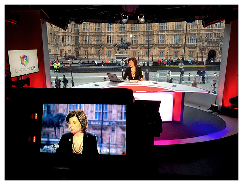The news bulletin during the general election, outside the houses of parliament. May 2015