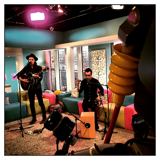 Filming James Bay during Sunday Brunch on Channel Four at Princess Productions. May 2015