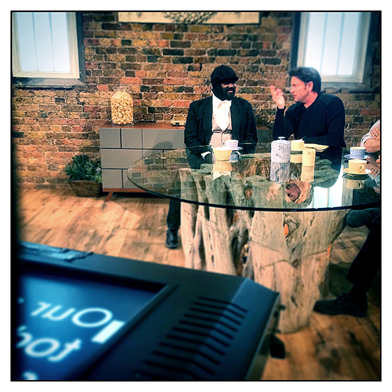 Filming Saturday Kitchen on BBC1 with James Martin and Gregory Porter at Cactus TV. May 2015