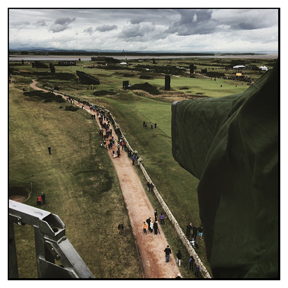 Working on the hoist at the Open at St Andrews, Scoltland. July 2015