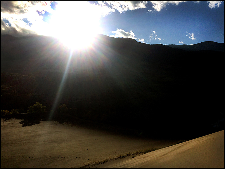Sunrise on top of the Great Sand Dunes National Park in Colorado. Personal I-Phone image by Toby Deveson. September 2016