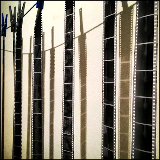 Negatives drying in the darkroom. Personal I-Phone image by Toby Deveson. February 2016