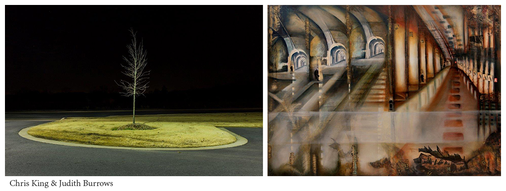 Photography by Chris King and artwork by Judith Burrows paired together for Viewpoints, a rooftop collective exhibition curated by Anna McNay and held at The Espacio Gallery in London